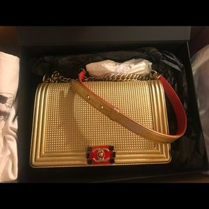 Authentic Chanel Limited Edition Gold Boy Bag